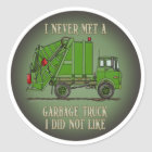 Garbage Truck Green Operator Quote Kids Sticker