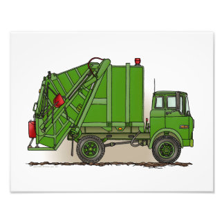 Garbage Truck Green Photo Print