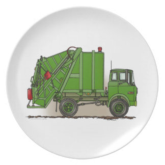 Garbage Truck Green Plate