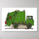 Garbage Truck Green Poster