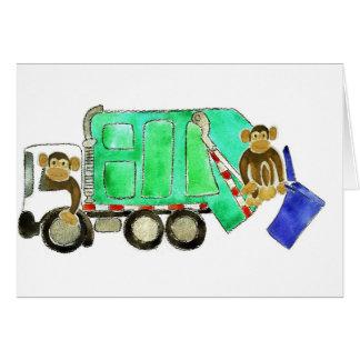 Garbage Truck Monkey Greeting Card