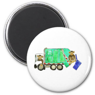 Garbage Truck Monkey Refrigerator Magnet