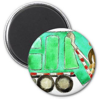 Garbage Truck Monkey 6 Cm Round Magnet