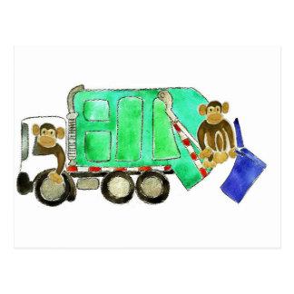 Garbage Truck Monkey Postcard