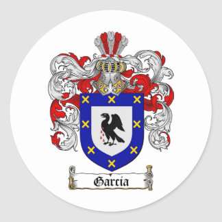 GARCIA FAMILY CREST -  GARCIA COAT OF ARMS ROUND STICKERS