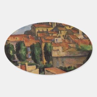 Gardanne (Horizontal View) by Paul Cezanne Oval Sticker