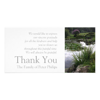 Garden 2 Peaceful Pond Sympathy Thank You 2 Personalised Photo Card