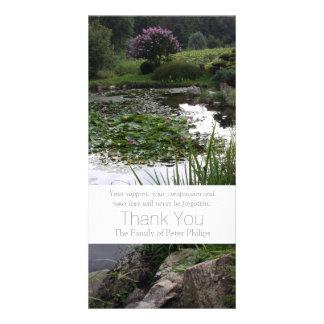Garden 2 Peaceful Pond Sympathy Thank You 3 Customized Photo Card