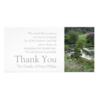 Garden 3 with Cats Sympathy Thank You 2 Personalised Photo Card