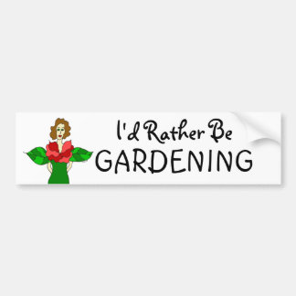 "Garden Angel ""I'd Rather Be Gardening"" Bumper Sticker"