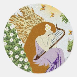 Garden Angel Round Sticker