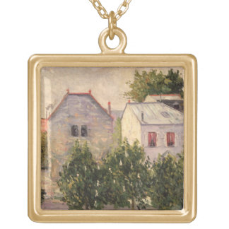 Garden at Asnieres, 1883 (oil on canvas) Gold Plated Necklace