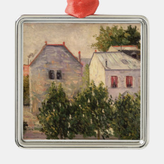 Garden at Asnieres, 1883 (oil on canvas) Silver-Colored Square Decoration
