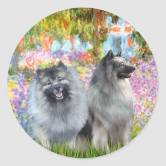 Garden at Giverney - 2 Keeshonds Classic Round Sticker