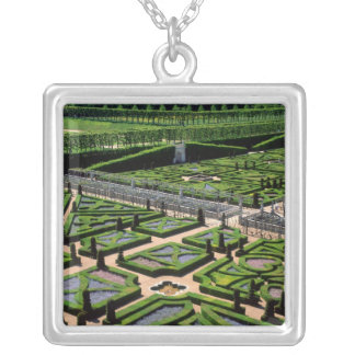 Garden at Villandry Chateau, Indre-et-Loire, Silver Plated Necklace