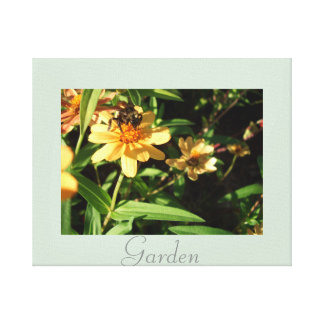 Garden Bee Yellow Flowers Art Photography Stretched Canvas Print