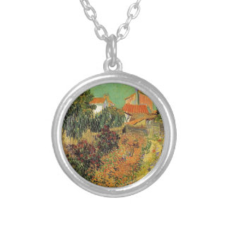 Garden behind a House.  Vincent van Gogh. Silver Plated Necklace