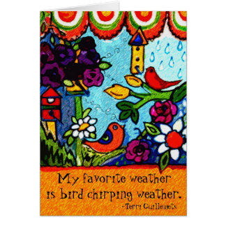 Garden birdhouse Greeting Card Birds Summer Spring