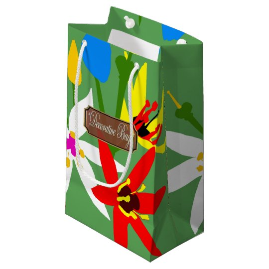 Garden Blooms Small Green Gift Bags