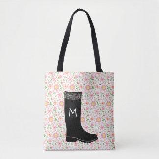 Garden Boot Floral Everything Bag / gardening Tote Bag