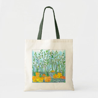 Garden Carrots Watercolor Painting Budget Tote Bag