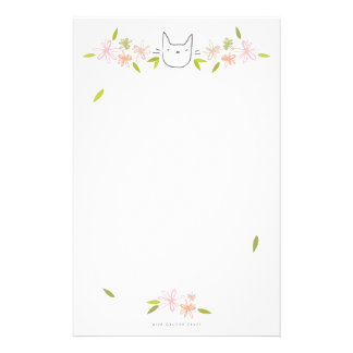 Garden Cat in the Chrysanthemums Personalized Stationery