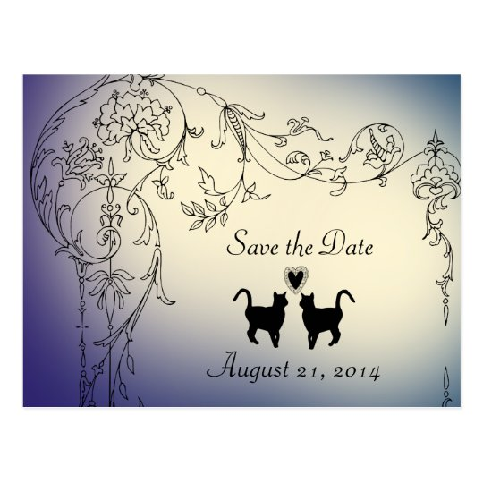 Garden Cats Lovers Save the Date Postcard