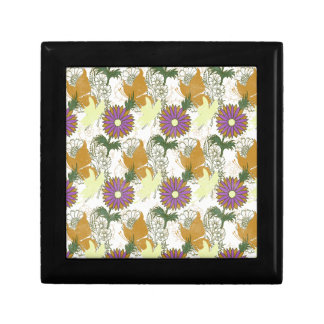 Garden Charm 6: vintage butterfly orange yellow Small Square Gift Box