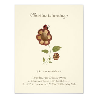 Garden Collection · Flower with Ladybug 11 Cm X 14 Cm Invitation Card