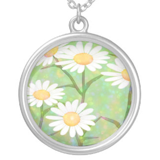 Garden Daisies Bokeh Dots Personalized Necklace