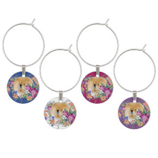 GARDEN DANCE Chow -  Set of wine charms