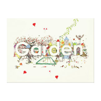 Garden detailed funny creative text art canvas gallery wrapped canvas