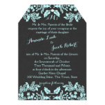 Garden Enchantment Aqua Blue and Slate 13 Cm X 18 Cm Invitation Card