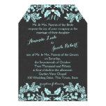 Garden Enchantment Aqua Blue and Slate 13 Cm X 18 Cm Invitation Card
