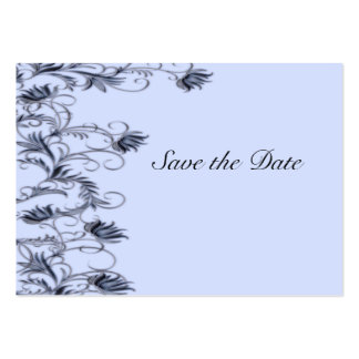 Garden Essence Charcoal Blue Save The Date Cards Business Cards