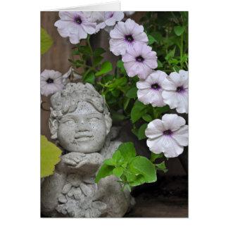 Garden fairy and petunias card