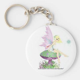 Garden fairy basic round button key ring