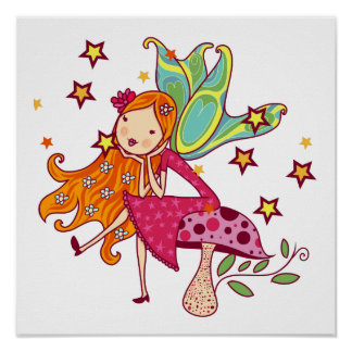 Garden Fairy on Mushroom Poster