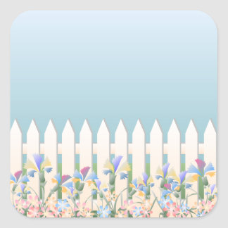 Garden Fence and Flowers Sticker