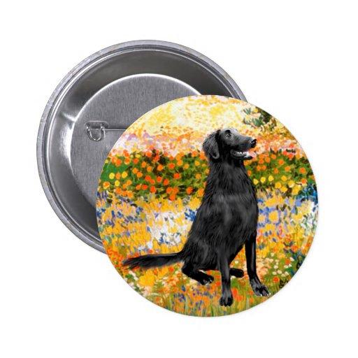 Garden - Flat Coated Retriever Pinback Buttons