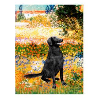 Garden - Flat Coated Retriever Post Card