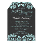 Garden Floral Aqua Blue and Slate 13 Cm X 18 Cm Invitation Card