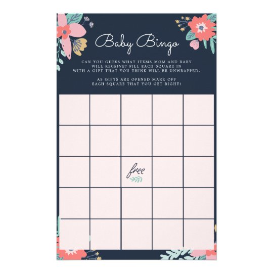 Garden Floral Baby Bingo Game Stationery