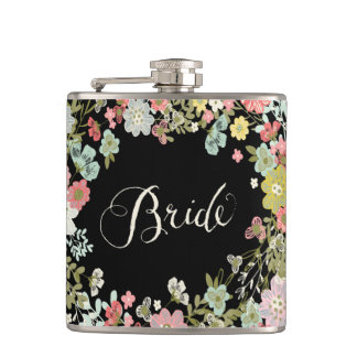 Garden Floral Bride Typography Alcohol Hip Flask