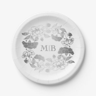 Garden Floral Wreath Elegant Silver and White 7 Inch Paper Plate