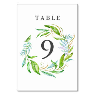 Garden Flower Watercolor Wreath Wedding Card