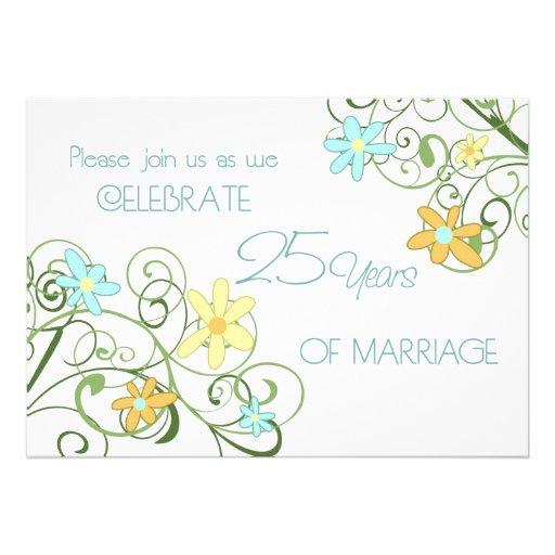 Garden Flowers 25th Anniversary Invitation Card