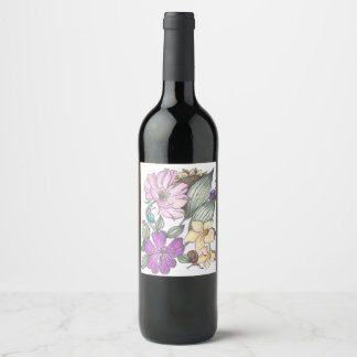 garden flowers and snails wine label