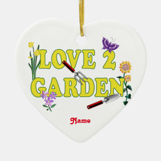 "Garden Flowers and Tools ""Love 2 Garden"" Christmas Ornament"
