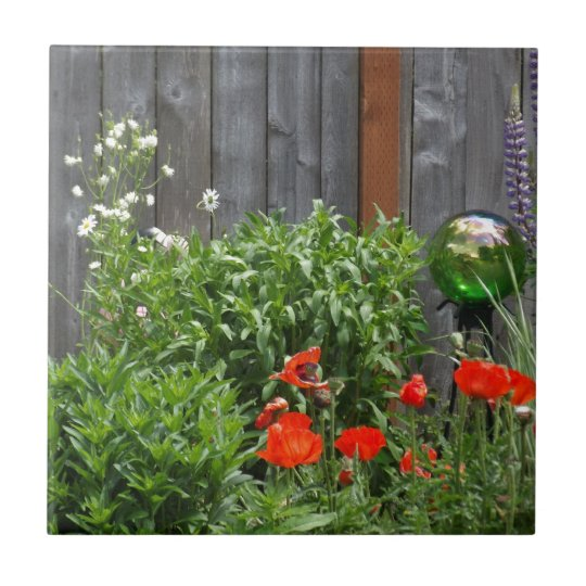 Garden Flowers at Fence Small Square Tile